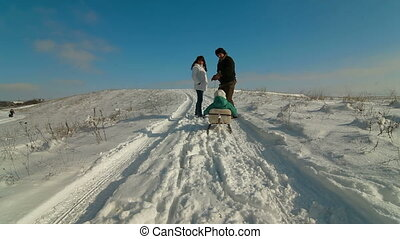 gezin, sledding