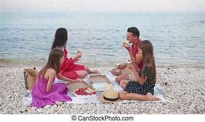 gezin, strand, picknick
