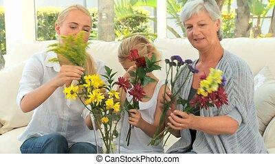 gezin, vaas, het putten, bloemen