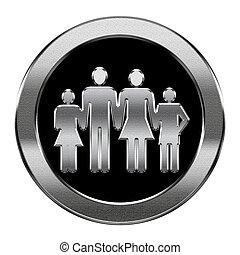 gezin, vrijstaand, achtergrond., zilver, witte , pictogram