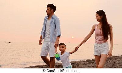 gezin, vrolijke , aziaat, strand, wandelende