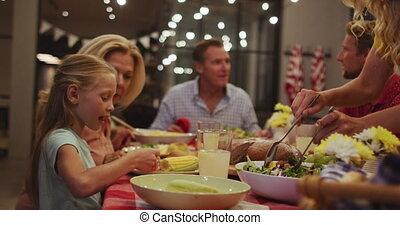 gezin, vrolijke , samen., diner, eten