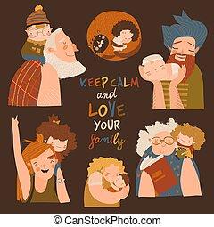 gezin, vrolijke , spotprent, kinderen, set., vector, ouders, grootouders, samen