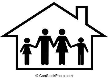 gezin, woning, brandkast, ouders, thuis, kinderen, vrolijke