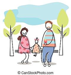 gezin, zittende , parkeer bank, ouders, geitje, vrolijke
