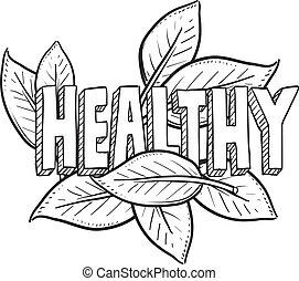 gezond voedsel, schets