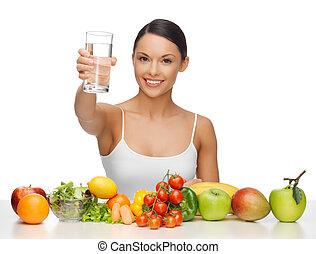 gezond voedsel, vrouw