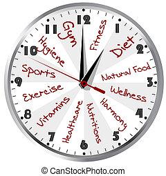 gezonde , conceptueel, leven, klok
