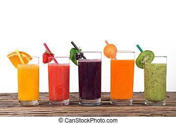 gezonde , fris, drinks., fruitsap