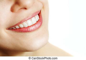 gezonde , glimlachen, vrouw, fris, teeth