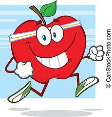 gezonde , jogging, appel, rood
