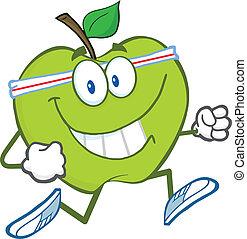 gezonde , jogging, groene appel