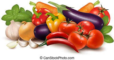 gezonde , leaves., illustratie, eating., vector, groente, fris