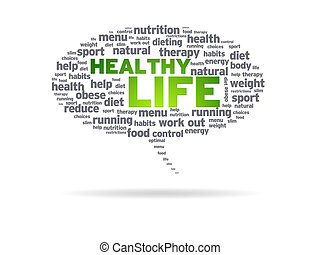 gezonde , -, leven, tekstballonetje