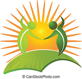 gezonde , logo, leven, vector, natuur