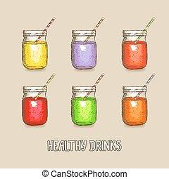 gezonde , set, dranken