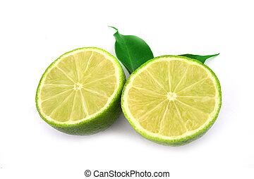gezonde , vrijstaand, fruit, groen wit, kalk