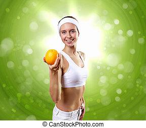 gezonde vrouw, sportende, jonge