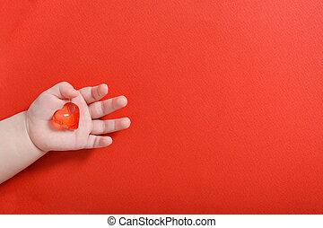gezondheid, heart., glas, kind, liefde, vasthouden, gezin, concept