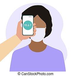 gezondheid, telefoon, temperatuur, mensen, afstand, scanderen