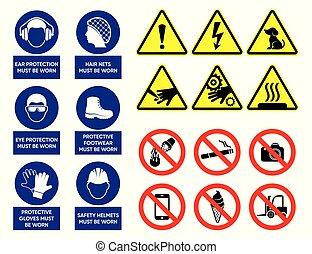 gezondheid, vector, veiligheid, tekens & borden
