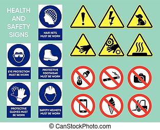 gezondheid, veiligheid, verzameling, tekens & borden