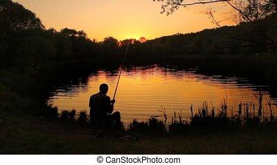 gieten, back, visser, vijver, stringing, lijn, lokaas, aanzicht