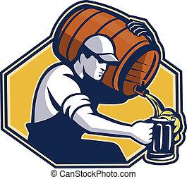 gieten, barman, arbeider, biermok, vat