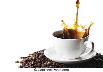 gietende koffie, kop