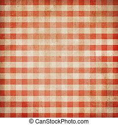 gingham, grunge, achtergrond, gecontroleerde, picknick, tafelkleed, rood