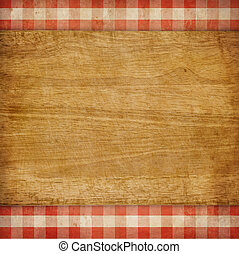 gingham, picknick, op, scherpe raad, achtergrond, grunge, gecontroleerde, tafelkleed, rood