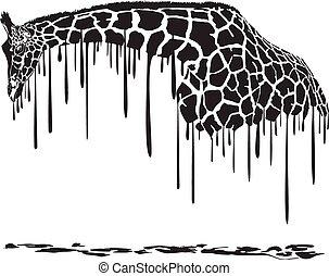 giraffe, schilderij