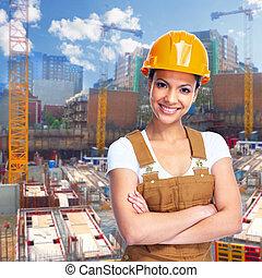 girl., de arbeider van de bouw