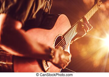 gitaar, akoestisch, spelend