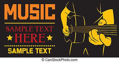 gitaar, akoestisch, spelend, poster