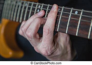 gitaar, beoefenen, spelend