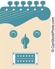 gitaar, funky, gezicht