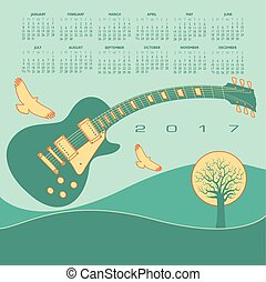 gitaar, funky, kalender
