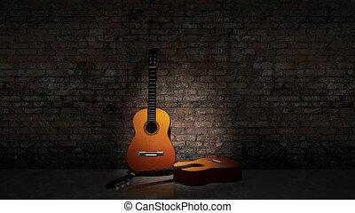 gitaar, grungy, akoestisch, w, neiging