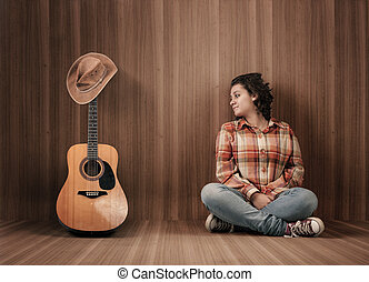 gitaar, hoedje, cowboy