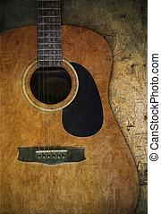 gitaar, hout, oud, textured