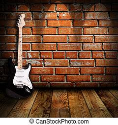 gitaar, kamer, elektrisch
