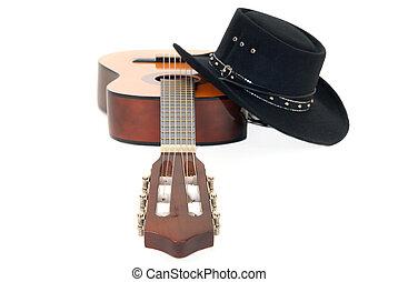 gitaar, land, hoedje, westelijk, &