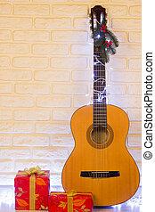 gitaar, land muziek, kerstmis, achtergrond