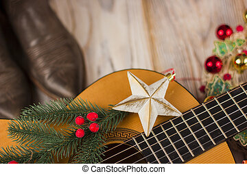 gitaar, land, versiering, muziek, achtergrond, kerstmis