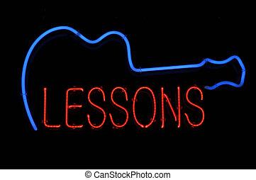 gitaar, lessen, buitenreclame