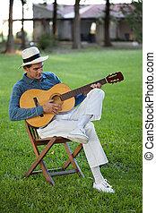 gitaar, mooi, spelend, man