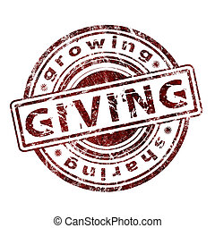 """""""giving"""", rubber, grunge, postzegel"""