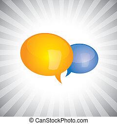 glanzend, concept, praatje, weergeven, enig, symbolen, gesprek, persoonlijk, discussie, mensen, toespraak, vector-, bel, glanzend, icons., kletsende, belangrijk, illustratie, of, groenteblik, hebben, vergadering