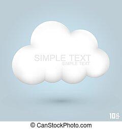glanzend, wolk, pictogram